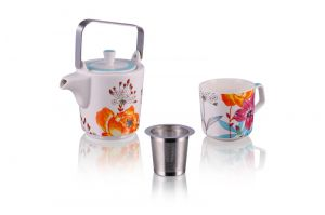 Teapot and Mug Tea for One, Floral White