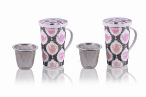 Mug with filter 350ml Black and Pink set of 2